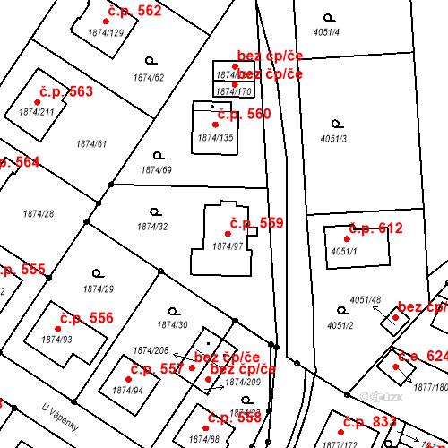 Katastrální mapa Stavební objekt Soběslav III 559, Soběslav