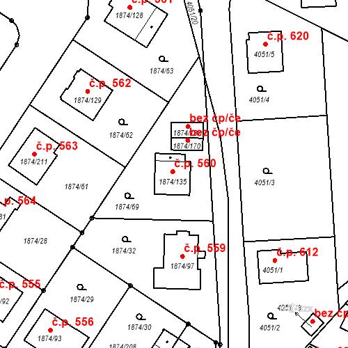 Katastrální mapa Stavební objekt Soběslav III 560, Soběslav