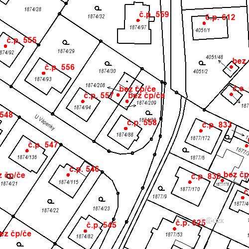 Katastrální mapa Stavební objekt Soběslav III 558, Soběslav