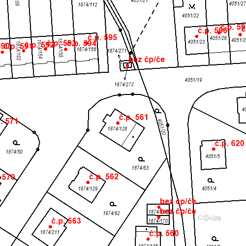 Katastrální mapa Stavební objekt Soběslav III 561, Soběslav