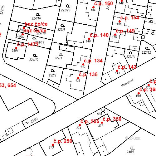 Katastrální mapa Stavební objekt Neratovice 135, Neratovice