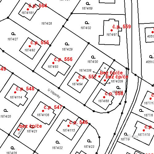 Katastrální mapa Stavební objekt Soběslav III 557, Soběslav