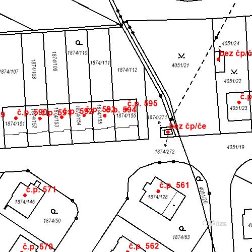 Katastrální mapa Stavební objekt Soběslav III 595, Soběslav