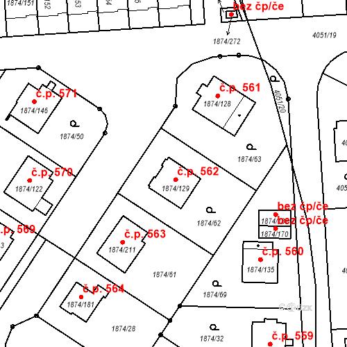 Katastrální mapa Stavební objekt Soběslav III 562, Soběslav