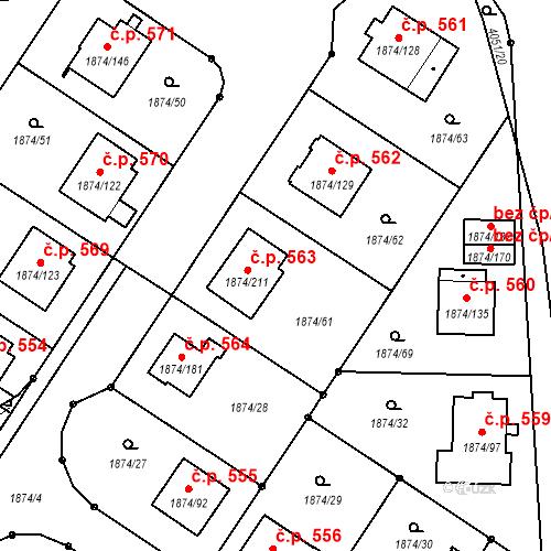 Katastrální mapa Stavební objekt Soběslav III 563, Soběslav