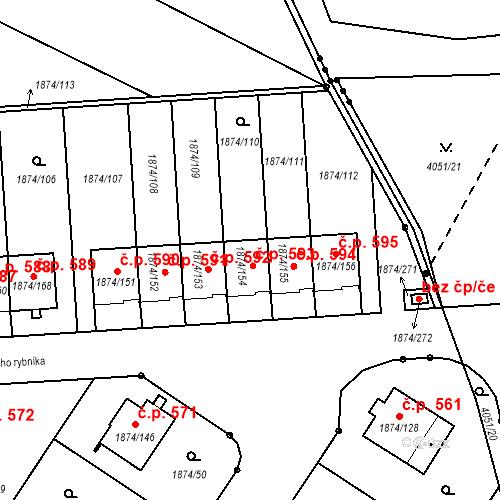 Katastrální mapa Stavební objekt Soběslav III 593, Soběslav