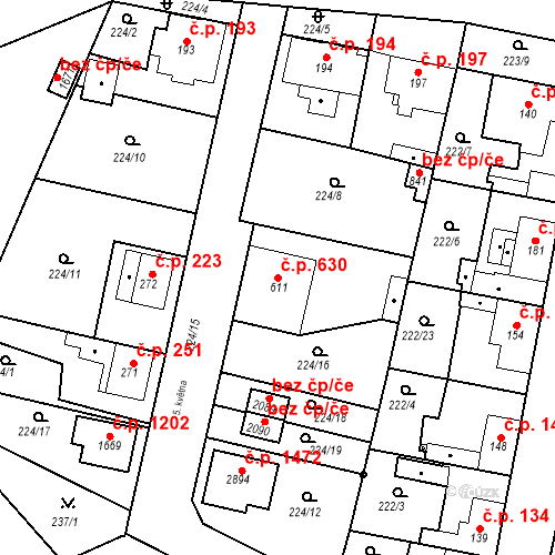 Katastrální mapa Stavební objekt Neratovice 630, Neratovice