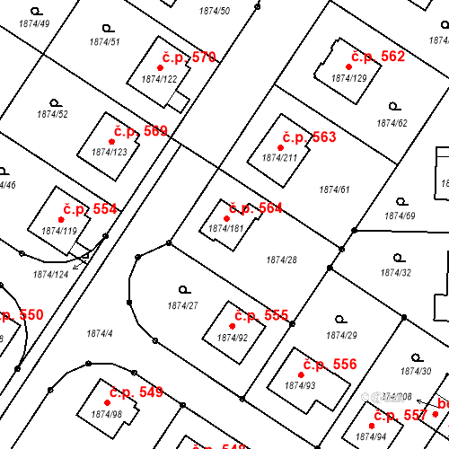 Katastrální mapa Stavební objekt Soběslav III 564, Soběslav