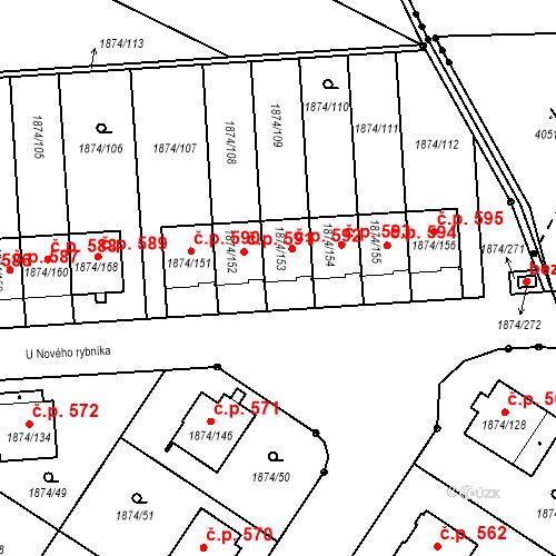 Katastrální mapa Stavební objekt Soběslav III 592, Soběslav