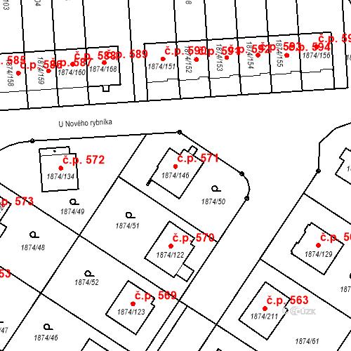 Katastrální mapa Stavební objekt Soběslav III 571, Soběslav