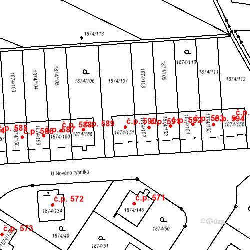 Katastrální mapa Stavební objekt Soběslav III 590, Soběslav