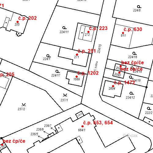 Katastrální mapa Stavební objekt Neratovice 1202, Neratovice