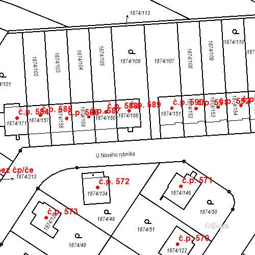 Katastrální mapa Stavební objekt Soběslav III 589, Soběslav