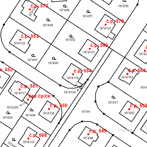 Katastrální mapa Stavební objekt Soběslav III 554, Soběslav