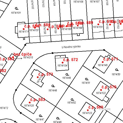 Katastrální mapa Stavební objekt Soběslav III 572, Soběslav