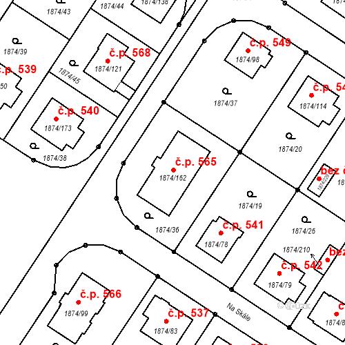 Katastrální mapa Stavební objekt Soběslav III 565, Soběslav