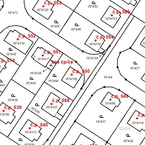 Katastrální mapa Stavební objekt Soběslav III 550, Soběslav