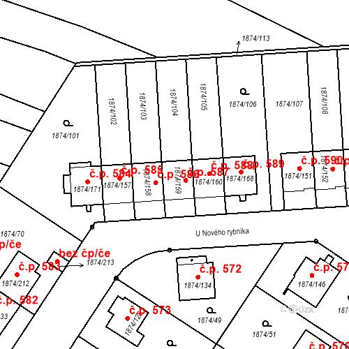 Katastrální mapa Stavební objekt Soběslav III 587, Soběslav