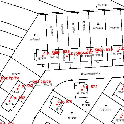 Katastrální mapa Stavební objekt Soběslav III 586, Soběslav