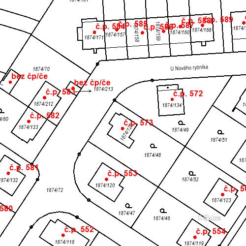 Katastrální mapa Stavební objekt Soběslav III 573, Soběslav