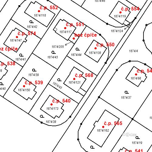 Katastrální mapa Stavební objekt Soběslav III 568, Soběslav