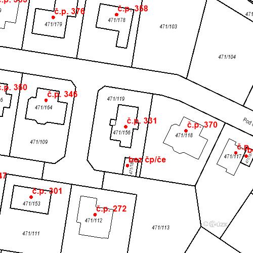 Katastrální mapa Stavební objekt Křeslice 331, Praha