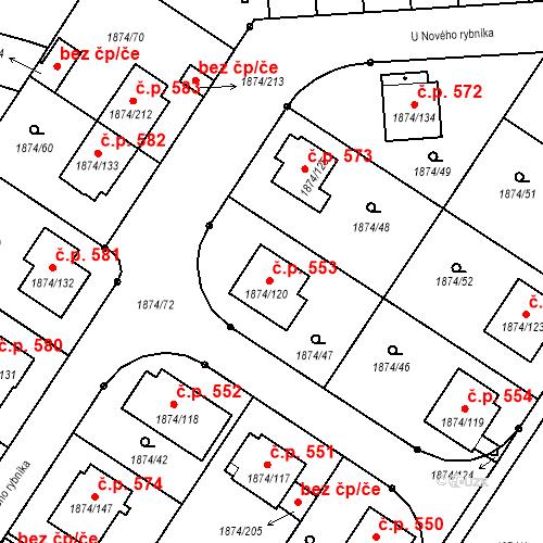 Katastrální mapa Stavební objekt Soběslav III 553, Soběslav