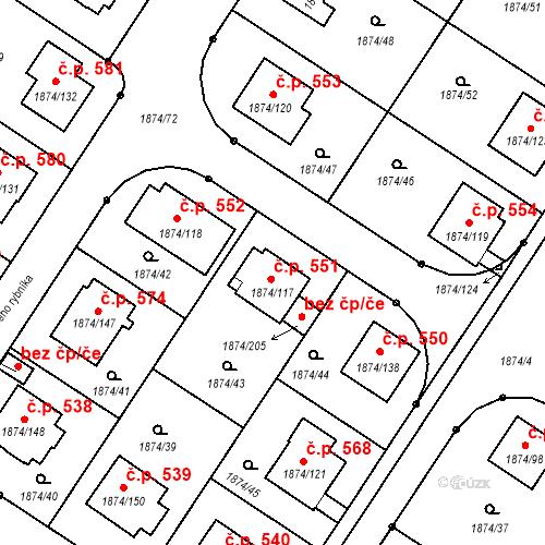 Katastrální mapa Stavební objekt Soběslav III 551, Soběslav