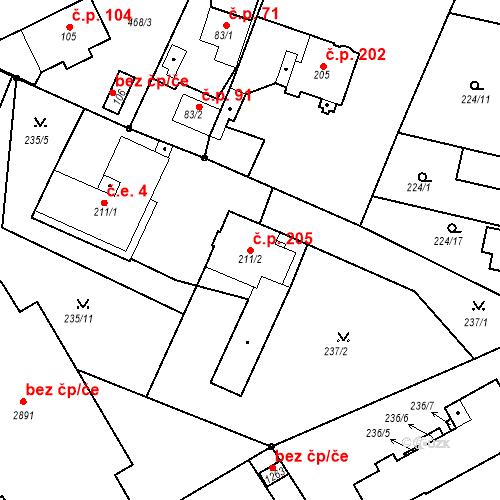Katastrální mapa Stavební objekt Neratovice 205, Neratovice