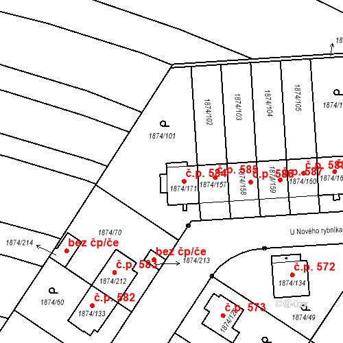 Katastrální mapa Stavební objekt Soběslav III 584, Soběslav