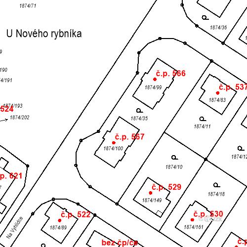 Katastrální mapa Stavební objekt Soběslav III 567, Soběslav