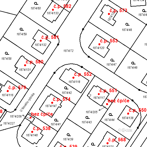 Katastrální mapa Stavební objekt Soběslav III 552, Soběslav