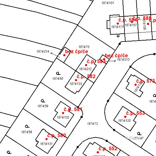 Katastrální mapa Stavební objekt Soběslav III 582, Soběslav