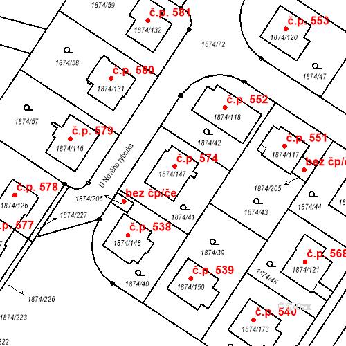 Katastrální mapa Stavební objekt Soběslav III 574, Soběslav