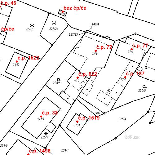 Katastrální mapa Stavební objekt Neratovice 622, Neratovice