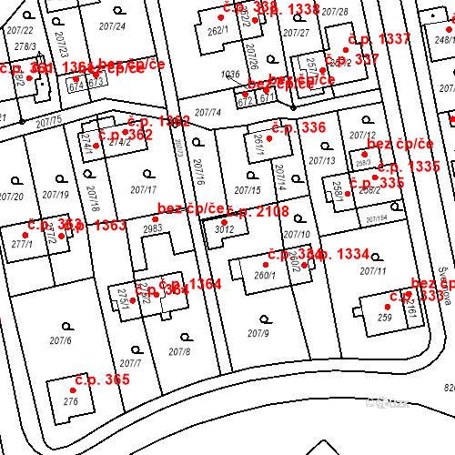 Katastrální mapa Stavební objekt Sezimovo Ústí 2108, Sezimovo Ústí