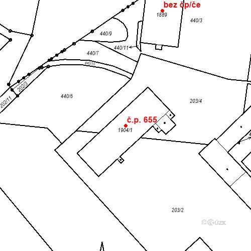 Katastrální mapa Stavební objekt Neratovice 655, Neratovice