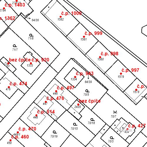 Katastrální mapa Stavební objekt Neratovice 943, Neratovice