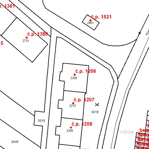 Katastrální mapa Stavební objekt Neratovice 1206, Neratovice