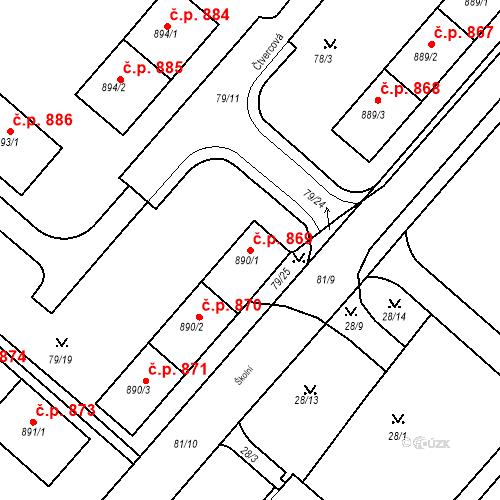 Katastrální mapa Stavební objekt Neratovice 869, Neratovice