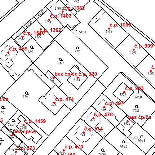 Katastrální mapa Stavební objekt Neratovice 920, Neratovice