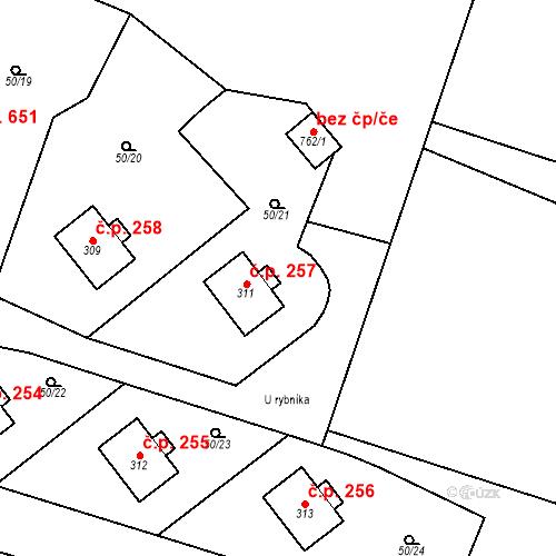 Katastrální mapa Stavební objekt Měšice 257, Měšice