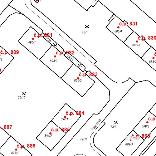 Katastrální mapa Stavební objekt Neratovice 883, Neratovice