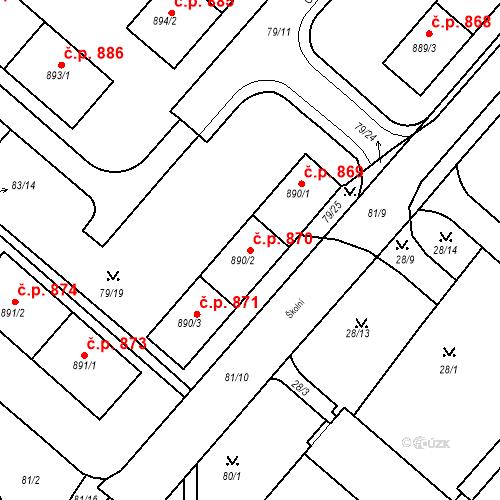 Katastrální mapa Stavební objekt Neratovice 870, Neratovice