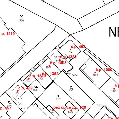 Katastrální mapa Stavební objekt Neratovice 1382, Neratovice