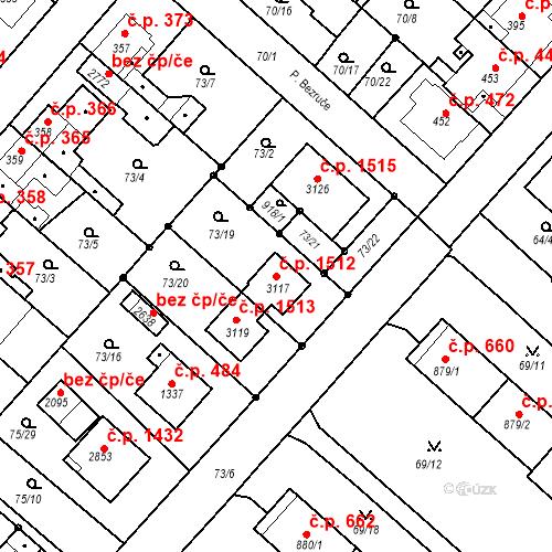 Katastrální mapa Stavební objekt Neratovice 1512, Neratovice