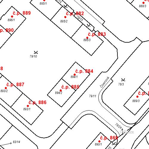 Katastrální mapa Stavební objekt Neratovice 884, Neratovice