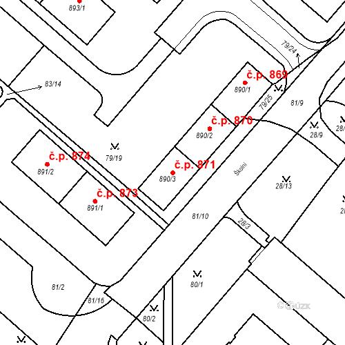 Katastrální mapa Stavební objekt Neratovice 871, Neratovice