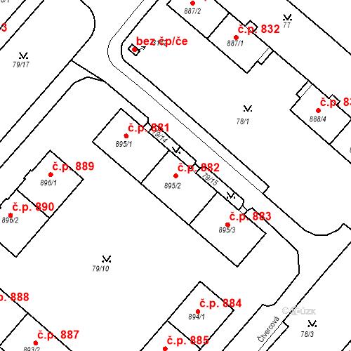 Katastrální mapa Stavební objekt Neratovice 882, Neratovice