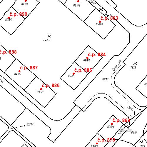 Katastrální mapa Stavební objekt Neratovice 885, Neratovice